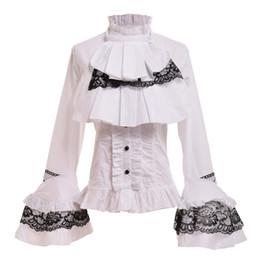 8c2e75fec6 Negro   blanco para mujer Vintage gótico Steampunk Blusa de manga Puff  Elegante Princesa Imperio Royal Lolita cintura con cordones Camisa Tops camisa  negra ...