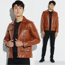 ocio Otoño guapo Invierno chaqueta de cuero chaqueta británica Abrigo Nuevo 2019 Motocicleta moda chico de versión hombres japonesa chaqueta 4RAjL35q