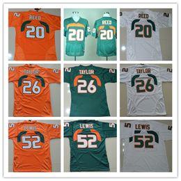 2019 retrocesos de camisetas de fútbol NCAA Mens Throwback College Miami Hurricanes 20 Ed Reed # 52 Ray Lewis # 26 Sean Taylor blanco azul naranja camisetas de fútbol envío gratis retrocesos de camisetas de fútbol baratos