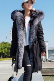 2019 pele aparada casaco parka Resistente ao frio mulheres casacos quentes marca Maomaokong pele de raposa de prata guarnição Limite preto prata forro de pele de raposa preto longo parkas desconto pele aparada casaco parka