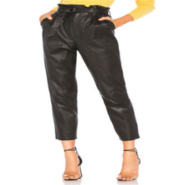 2019 женская мокрая одежда Women Casual Skinny Pant Leather Wet Look High Waist Stretch Slim Ladies Trouser Solid Black Ladies Clothes дешево женская мокрая одежда