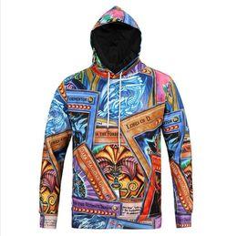 Imprima os dois lados on-line-Juventude hip hop moletom com capuz homens da moda América 3D ambos os lados Dos Desenhos Animados impresso hoodies dos homens com capuz Com Cordão
