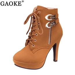 botas de hebilla de cremallera Rebajas Zapatos de mujer Botas de mujer Tacones finos Plataforma Hebilla Cremallera Metal Sapatos Femininos Botas de cuero con cordones Talla 35-43