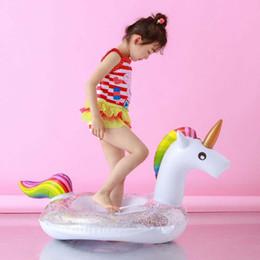 2019 juguetes de barco para niños Bebé Inflable Anillo de Natación Flamingo Unicornio Pavo Real Princesa Forma de Caballo Piscina Flotador Barco Inflable Niños Pequeños Verano Juguetes de Piscina Al Aire Libre juguetes de barco para niños baratos