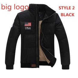 Negócio casual jaqueta on-line-EUA POLO marca jaqueta masculina de inverno nova bandeira POLO gola quente de espessura business casual Paul baixo maré dos homens jaqueta