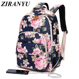 pink bags for flower girl Coupons - Korean Style Women Floral Backpack Flowers School Bags For Girls Kids Vintage Printing School Backpack Children Bookbag
