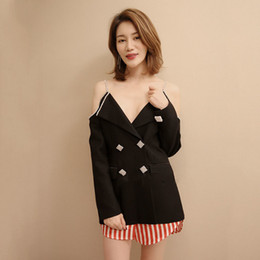 Coreano moda casaco longo on-line-Off Ombro Diamantes Casacos Blazer Feminino V Neck Manga Comprida Patchwork Fino Ternos Para As Mulheres 2019 Moda Coreana