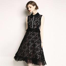 aa4c707924cdb Yaz Kadın Dantel Elbise Slim Fit Yelek Uzun Elbise Boncuklu Çalışma Elbise  2019 Yüksek Kalite Siyah