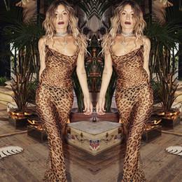 2019 vestido sexy banquete Vestido sexy de personalidad con estampado de leopardo fino Vestido de ala delgada para banquete Fiesta Vestido dividido delgado rebajas vestido sexy banquete