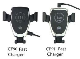 Carregador de montagem de carro de smartphone on-line-CF90 CF91 Qi sem fio Car Charger Air Def 10W 7.5W 5W Mount Holder fixação Smart Sensor de alta potência carregamento rápido Para Universal Smartphone