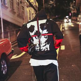 Sudaderas de baile online-Harajuku hombres / mujeres Street Dance falso dos piezas para hombre con capucha Hip Hop sudaderas con capucha remiendo del cráneo con capucha sudadera
