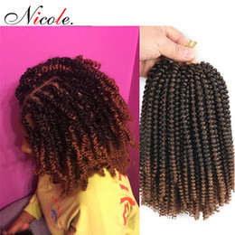 Nicole 30Roots / Pcs Crochets Tresses Extensions de Cheveux Noir / Bug / Brun Omber Couleur Printemps Twist Cheveux Crépus Bouclés Twist Synthétique Cheveux 8 Pouces ? partir de fabricateur