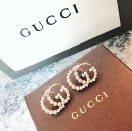 Círculos completos online-GUCCI Lujoso diseñador de joyería Círculos Exagerados Aretes de diamantes de imitación redondos Gota del oído Pendiente de plata Stud Mujeres bonitas Joyería Regalo 0511