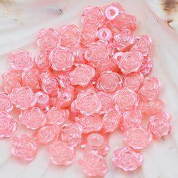Оптовая сладкий розовый 300 шт. 12 мм ремесло ABS изысканный цветок розы имитация жемчуга Flatback жемчуг бусины Записки Diy от