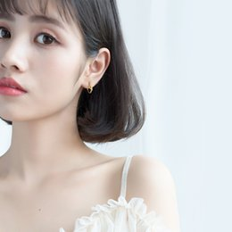 Hebilla de oreja de oro online-S925 oreja de plata hebilla hembra de viento japonés de oro nudo simple oído tendencia anillo de nudo pendientes línea E9554
