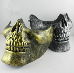 máscara facial de la media del cráneo del airsoft Rebajas Skull Half Face Mask Costume fiesta de Halloween Airsoft Skull Mask motocicleta Skeleton Half Face Masks Gold