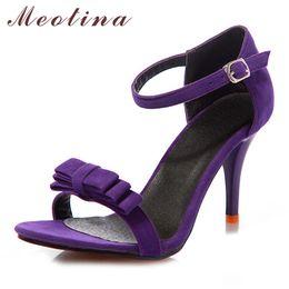 scarpe da sposa arco viola Sconti Sandali donna estate cinturino alla caviglia sandali tacchi alti bow sandali da donna viola verde nero scarpe da sposa partito