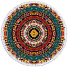 schnell trockenes mikrofasergewebe Rabatt Aztec Strandtuch Runde African Mikrofaser Handtuch Badezimmer Folkloric Tribe Kreise Mat Ethnic Bunte Playa Toalla