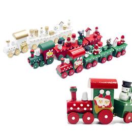 Ornamenti ornamenti per bambini online-Red Gold Train Ornamento in legno per la festa di Natale Decorazione natalizia per la casa Regalo di Capodanno Giocattolo per bambini Babbo Natale Pupazzo di neve