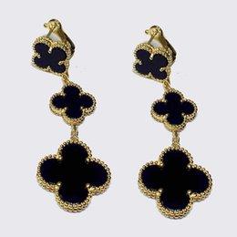 Fleur de coquillage noir en Ligne-Wholsale vente chaude marque s925 argent trèfle à quatre bijoux pour les femmes 3 boucles d'oreilles trèfle shell blanc noir rouge vert multi couleurs