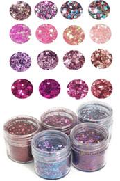 cosméticos caixa mista Desconto 4 Caixas Chunky Mixed Glitter Acrílico Gel Nail Art para o Rosto Corpo Unha Sombra para os Olhos Festival Tattoo Cosméticos Glitter Mix gel acrílico