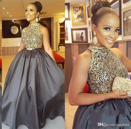 gray taffeta dress Promo Codes - New Gray Long Prom Dresses High Neck Sequined Beaded A Line Taffeta African Black Girl Evening Party Formal Dress Groom Mother's Wear 2