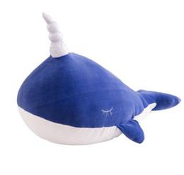brinquedo tubarão-baleia Desconto 45 cm 17.7 polegada narval animais boneca baleia brinquedo de pelúcia menina bonito travesseiros de dormir grande tubarão macio golfinho bonecas Bonecas coreano bonito