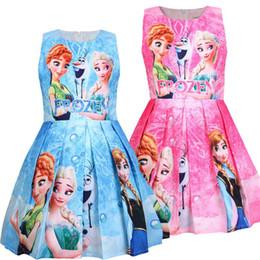 Vestido crianças europe on-line-2019 meninas princesa impresso saia plissada nova saia na Europa e os EUA Crianças vestido de crianças magras