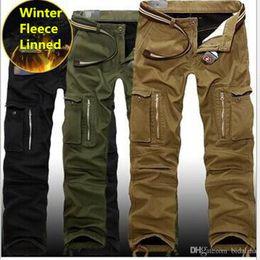 militär multi baggy hose Rabatt 29-40 Plus Größe Männer Cargo Pants Winter dicke warme Hosen in voller Länge Multi Pocket Casual Military Baggy Tactical Hosen