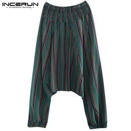 INCERUN 2019 Mens Harem Pants a righe cavallo basso Pantaloni a vita  elastica Nepal Pantaloni uomo Cotone Lino Hip-Hop pantaloni larghi Uomini 1e17252d5d3b