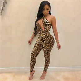 Mono flaco de leopardo online-Novedad Panther Catsuits Hollow Out Sexy Leopard Jumpsuit 30% Mujeres africanas americanas Night Club Body Sin mangas Flaco Cheetah Disfraces