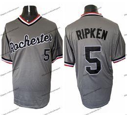 camisetas de béisbol negro rojo Rebajas Hombres baratos Cal Ripken Jr. 5 Rochester Red Wings Grey Béisbol Jerseys de béisbol Negro Gris Blanco Camisas de béisbol cosidas M-XXXL