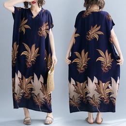 vestiti bohémien economici Sconti Maxi abito in cotone Bohemian Holiday Beach Dress Summer Long Dress Abbigliamento donna stampato Clohes economici Plus Size 2019