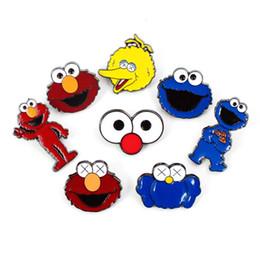 tricô sweater china Desconto Sesame Street emblema elmo cookie de monstro de metal cartoon Broochs coleção cosplay lapela esmalte Broche