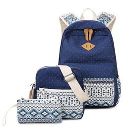 2019 nette rucksäcke für high school Rucksack Rucksack für Mädchen im Teenageralter Heißer Druck Niedliche Leichte Leinwand Bookbags Middle High School Blau Taschen Frauen Rucksack günstig nette rucksäcke für high school