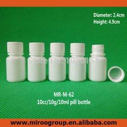 Kleine plastikflaschen online-102 + 2pcs / lot 10cc / 10 ml / 10 g Kunststoff-Medizin-Pille-Flaschen, Small Solid White Plastic Container Medizin Pille-Flaschen mit Sealer