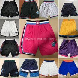 sh shorts Promotion 2019 Basketball Shorts Mia Mil Min Buc New York Tim Kni Ne court Noir Blanc Rose Bleu Jaune Violet Cousu A1