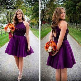 Bonitos vestidos para fiesta de graduación online-Bastante púrpura con cuentas de cristal de tul Vestidos de Fiesta Perlas atractivas Lentejuelas Hollow Back Plus Size A Line Mini Short Prom Vestidos de fiesta personalizados