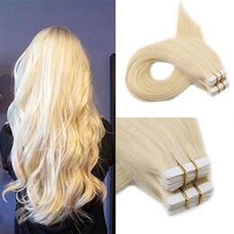 Brezilyalı Uzun Düz Bant Saç Uzantıları Cilt Atkı İnsan Doğal Saç Uzantıları # 613 Sarışın Renk 50g Ücretsiz Kargo nereden ucuz renk bandı saç uzatmaları tedarikçiler