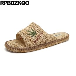7d6c35c6305c4 Slippers Slip On Shoes Flat Embroidery Slides Mens Sandals 2018 Summer  Outdoor Espadrilles Fisherman Woven Rope Designer Nice