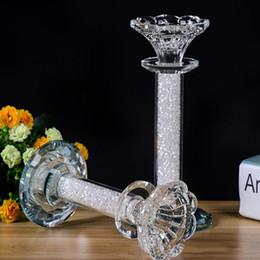 candelabros de cristal europeo Rebajas Nuevo exclusivo de lujo cristal europeo vela titular decoración de la mesa sala de bodas romántica boda suministros cristal candelabro