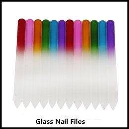 uv glasses Promo Codes - Hot Colorful Glass Nail Files Durable Crystal File Nail Buffer NailCare Nail Art Tool for Manicure UV Polish Tool