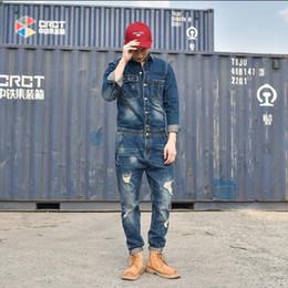2019 nova moda masculina Conjunto casual macacão ferramental calças jeans macacão azul macacão macacão vintage traje M - XXL cheap blue overalls costume de Fornecedores de fato de macacão azul