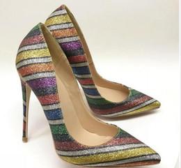 Envío gratis moda mujeres bombas Multi Color brillo Strass dedo del pie puntiagudo tacones altos sandalias zapatos botas novia boda bombas 120 mm 100 mm 8 cm desde fabricantes