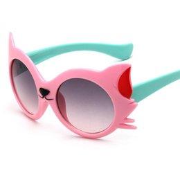 Kinder polaroid gläser online-Hot fashion kinder sonnenbrille jungen mädchen kinder niedlichen cartoon cat eye sonnenbrille gradientenlinse brille uv400 sonnenblende auge
