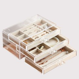 Limpar caixas de armazenamento on-line-3 camada caixa de acrílico Jewelry Flannelette dentro Fácil limpeza / Clear Organiza / armazenamento caso Multi-funcional para ladiesr Armazenamento / Jóias