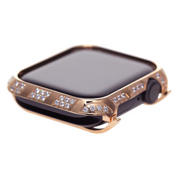 tampa protetora do relógio de maçã Desconto 2019 nova rosa de ouro smart watch case para apple watch series 4 liga de metal capa protetora de cristal de strass diamante caso moldura 40mm 44mm