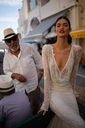 Manicotto lungo del vestito da cerimonia nuziale inbordo dror online-Abito da sposa Inbal Dror scollo a V con paillettes in pizzo sirena Abiti da sposa maniche lunghe Backless Beach Wedding Dress Custom