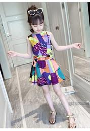 2019 chicos nuevos modelos de vestir Modelos de explosión color contraste niñas chaleco traje de falda verano nuevo vestido de verano para niños en el niño grande de algodón de dos piezas chicos nuevos modelos de vestir baratos