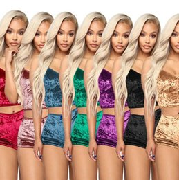 2020 pano feminino de verão superior Women Outfits Velvet Sexy V Neck Spaghetti Straps Crop Top + Shorts Tracksuit Night Club Party Sets Summer Sleepwear Cloth Two Piece EEA1684 desconto pano feminino de verão superior